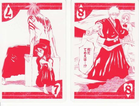 Bleach cards Hearts 8 and 7 by Mz-D