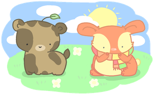 first adoptable set - leaf bear and scarf buns by Nyatto