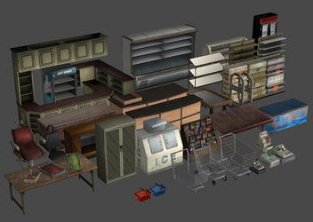 Store and Market Fixtures Model Pack (OBJ) by DigitalExplorations