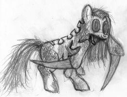necromorph pony sketch by MetaDragonArt