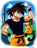 Son Goku and Son Gohan by Dannshee