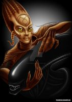 Sil and Xenomorph by ArcherBlack