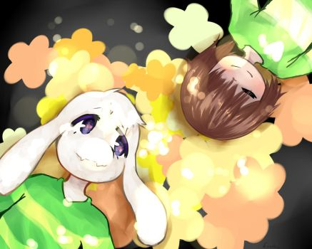 Chara + Asriel by Finchy-is-BenDrowned