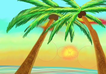 Palm Trees in Sunset by Newtypemo