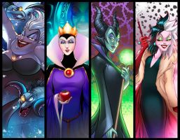 Disney Villainesses Panel Grouping by RichBernatovech