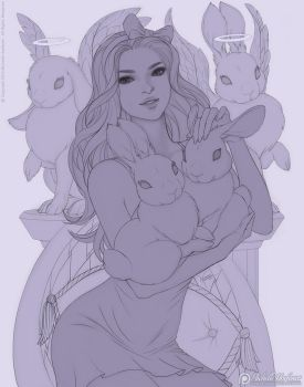Commission - Jaleh and Bunnies - Line Art by MichelleHoefener