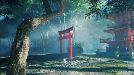 Japanese Temple by 3DLandscapeArtist