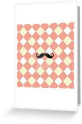 Checked and Mustache Design Card by PhotoshopGirl29