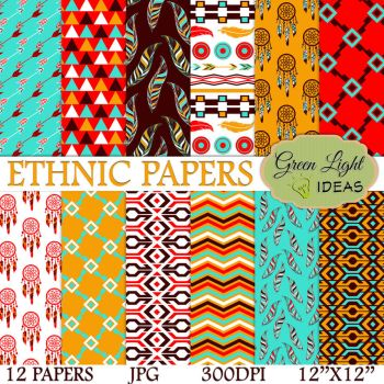 Ethnic Digital Papers by GreenLightIdeasGLI