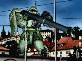 Zaku II in Prague/ Colour by JDAtrocityExhibition