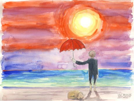 Sunset with dog and umbrella by enonea