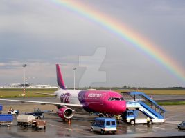 Aircraft under the rainbow by Skyrover