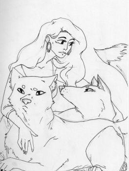 Lady and Wolves by cr0ss3d0ut