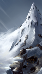 Northern mountain - phone wallpaper + Speedpaint by MilanaMill