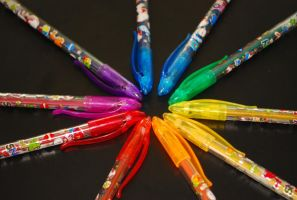 snoopy glitter pens by paige-dccm
