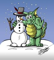 Snowman and Dragon by jimmysworld