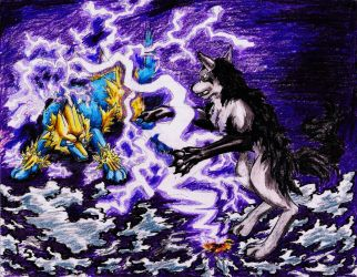 Manectric versus Mightyena by smaragdweiss