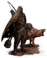 post-apocalyptic/fantasy ranger guy with mole rat by SirHanselot