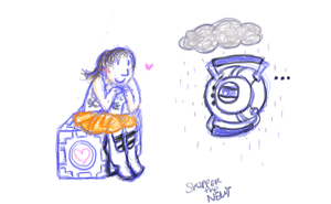 Chell and Wheatley by SkippertheNewt