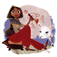 Shepherdess Caught Drawing On The Job by reimena