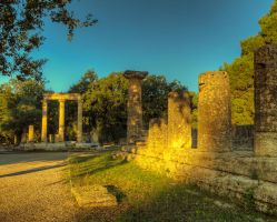 Greece - Olympia - 03 - Philippeon and Hera Temple by GiardQatar