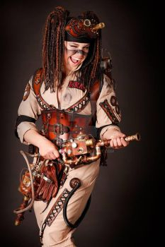steampunk ghostbuster cosplay by Lagueuse
