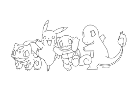 Free Pokemon Group Lineart by BehindClosedEyes00