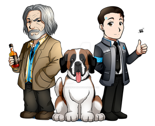Hank, Sumo, and Connor: Detroit Become Human by Smudgeandfrank