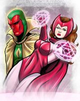 Scarlet Witch  and Vision by JarOfComics