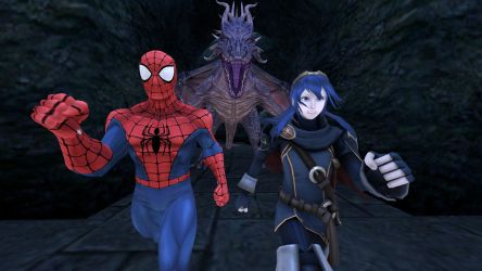 Spidey and Lucy encounter a Dragon by kongzillarex619