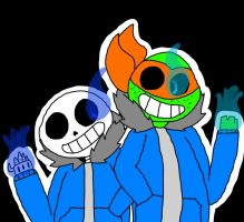 Undertale Sans and TMNT Mikey by shirodraws98