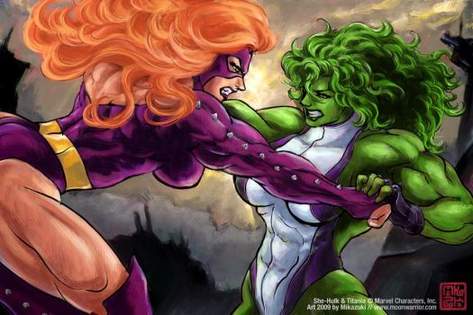 Mika_She-Hulk-Titania_rivals by zefly88