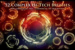 52 Complex Hi-Tech Sci-Fi Circle Brushes by XResch