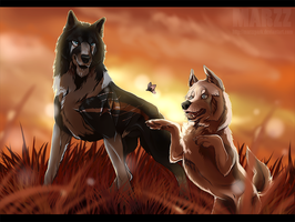 Commission - Proud old man and young playful by Marzzunny