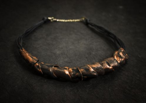 Statement leather necklace by julishland