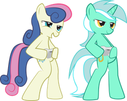 MLP FiM- Bon Bon and Lyra playing the game by Hoodie-Stalker