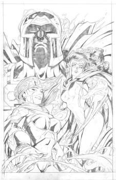 Magneto Scarlet witch and polaris by Tcarte21