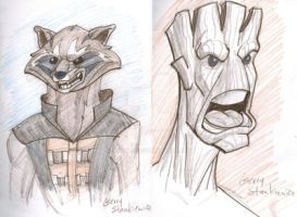 RocketRaccoon and Groot by Stnk13