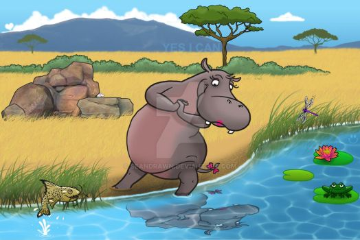 Hippo Admiring Reflection by SeanDrawn