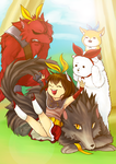 Vindictus (Mabinogi Heros) Evy and Pets by yellowrabbits
