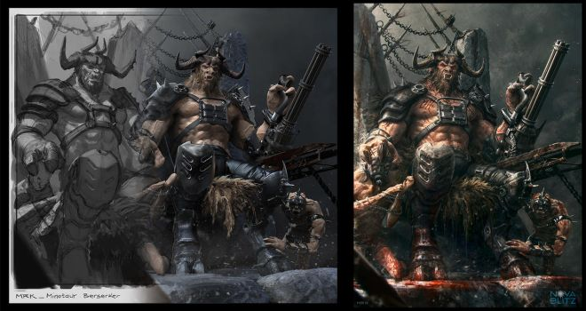 Minotaur Berserker from sketch to 3D to final img by Bogdan-MRK