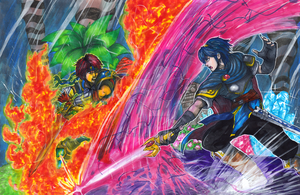 Commission: Roy VS Marth by Pixelated-Takkun