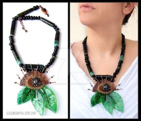Green leaves mixed media statement necklace by Faeriedivine