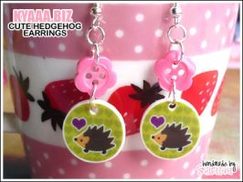 Hedgehog With Heart Earrings by shiricki