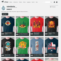 Past shirt designs AVAILABLE NOW on TEEFURY.COM by nakedDerby