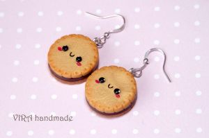 Kawaii cookie earrings with chocolate filling by virahandmade