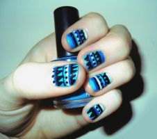 Blue Tribal Nails by RoxysSlushPuppie