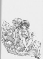 Children of the Whales: Lykos and Chakuro in boat by eLHaDe