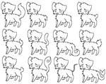 12 cats lineart Ms Paint Friendly by Nekoehh