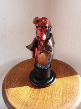 My new own sculpted Hellboy bust (without horns).. by IttoOgamy